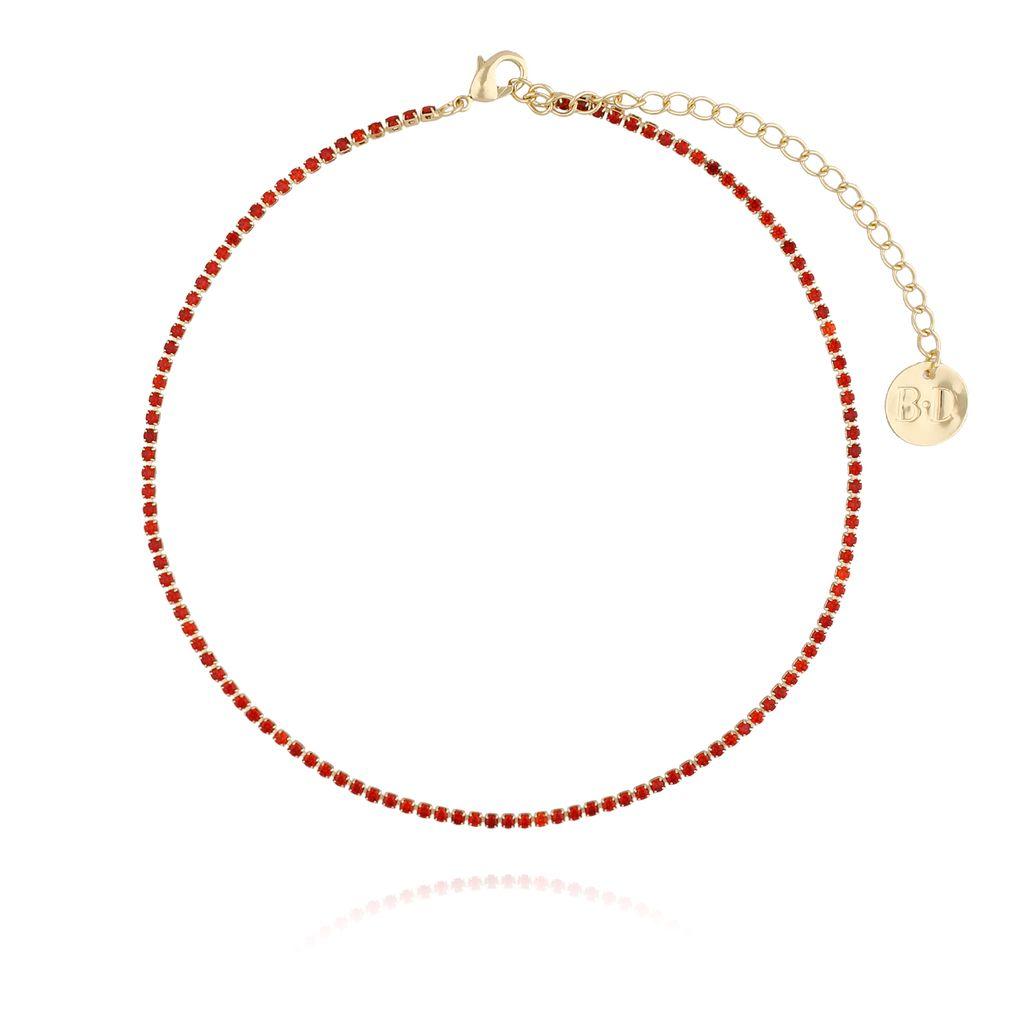 Naszyjnik złoty z czerwonymi cyrkoniami NMU0006