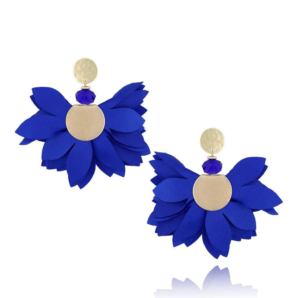 Kolczyki satynowe kwiaty Blossom granatowe KBL0302