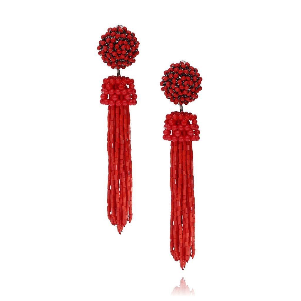 Kolczyki czerwone ze szklanych kryształków KMS0987