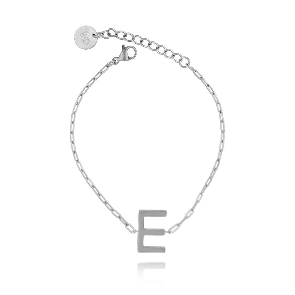 Bransoletka srebrna z literką E BAT0091