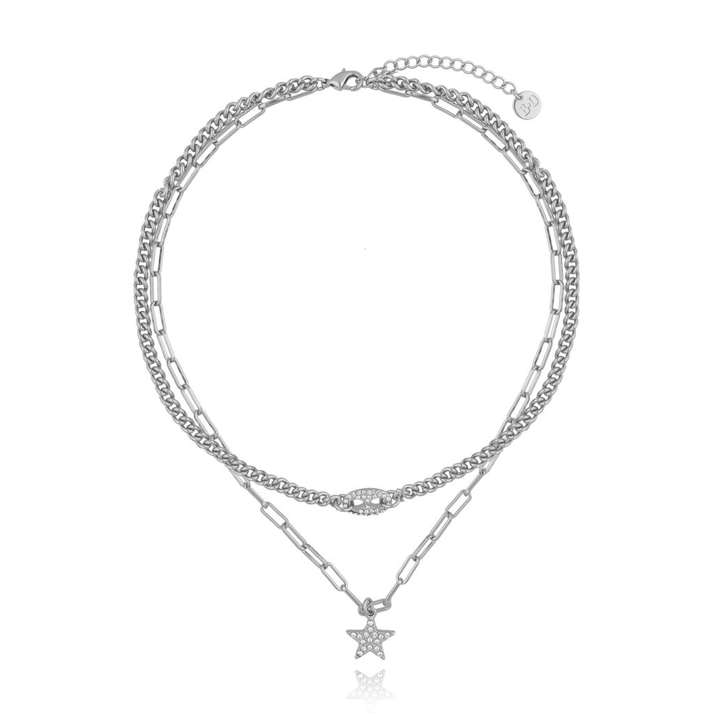 Naszyjnik srebrny podwójny z gwiazdką NRG0261