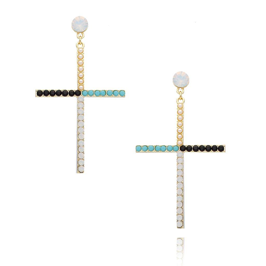 Kolczyki złote krzyże kolorowe KRG0622