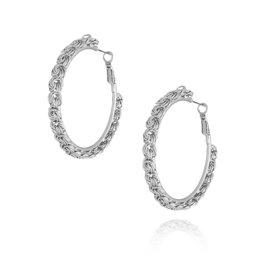 Kolczyki srebrne koła plecione KRG0554