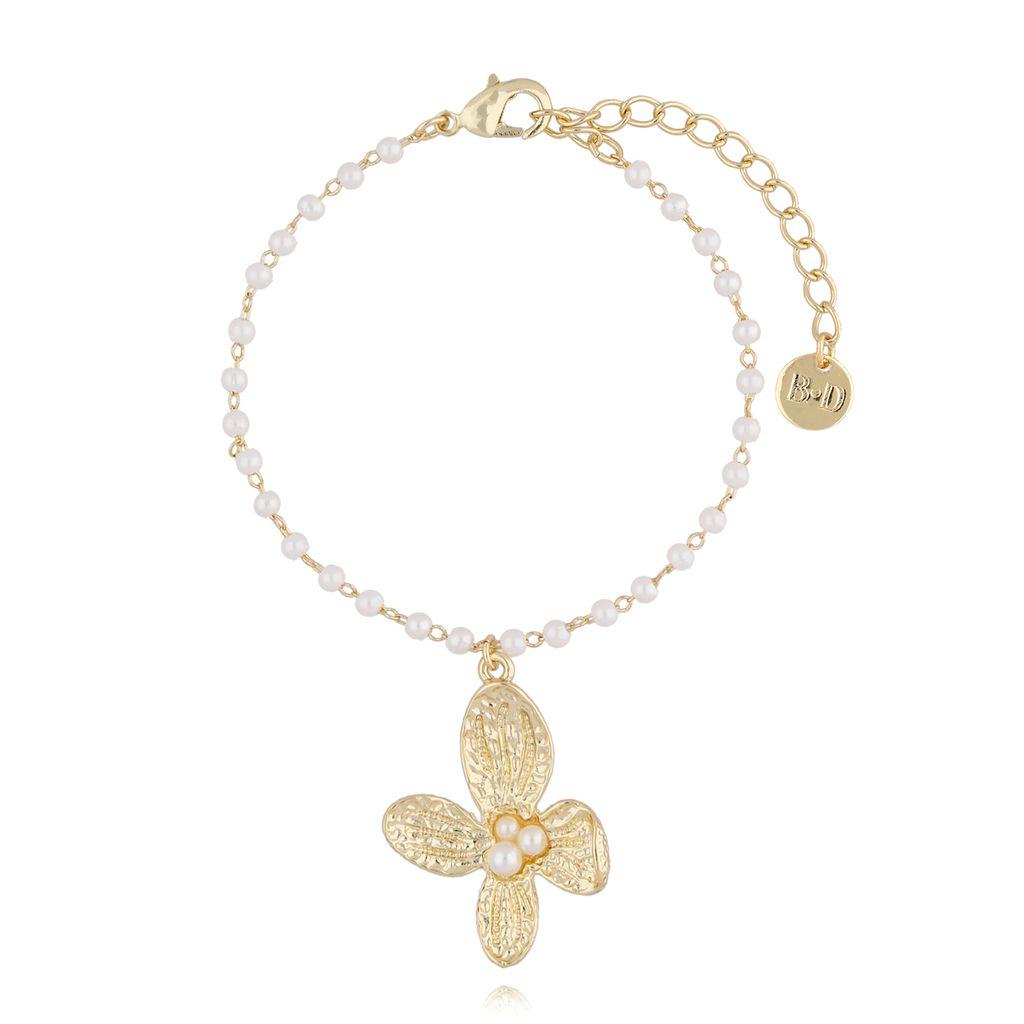 Bransoletka złota z perełkami  i kwiatkiem BPE0026
