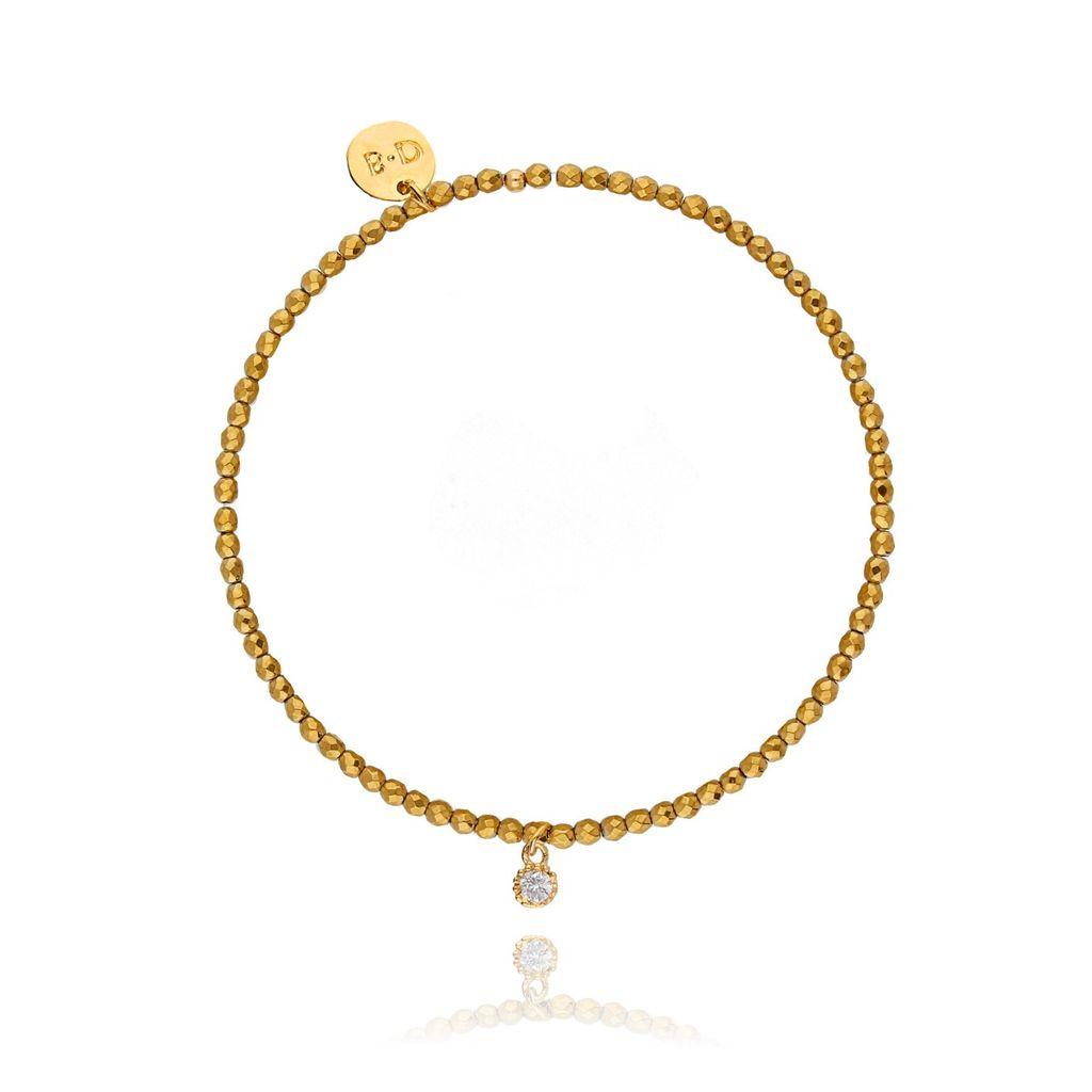 Bransoletka złota z hematytem - cyrkonia BTW0121
