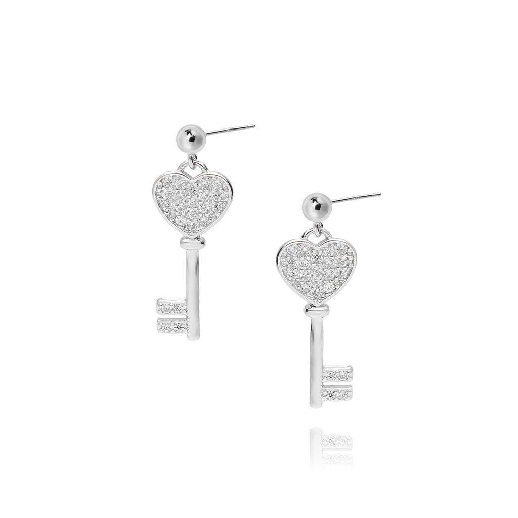 Kolczyki srebrne z cyrkoniami kluczyki KBT0006