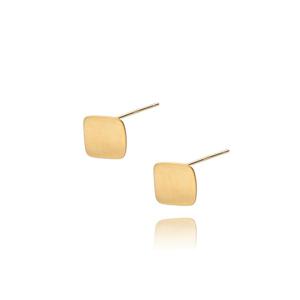 Kolczyki srebrne pozłacane szczotkowane KSE0063