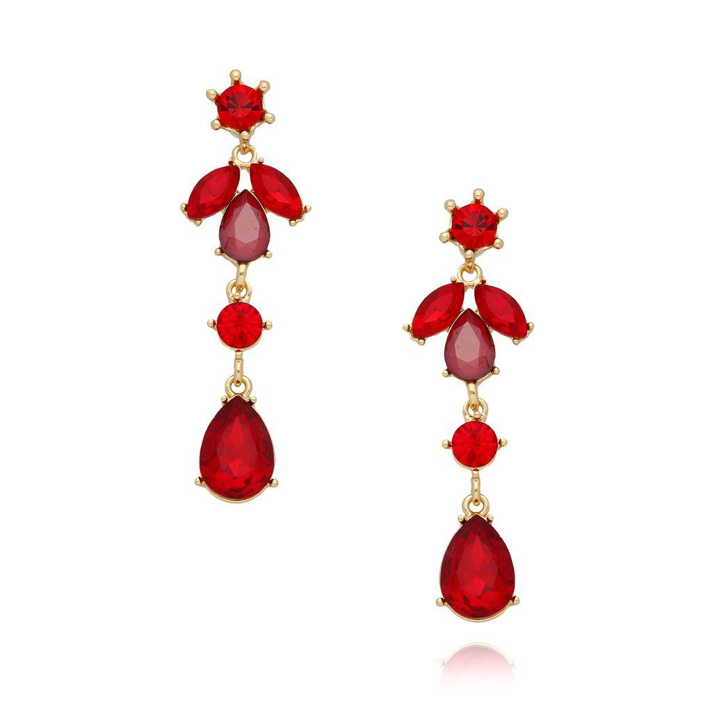 Kolczyki kryształowe listki  czerwone  KSS0820