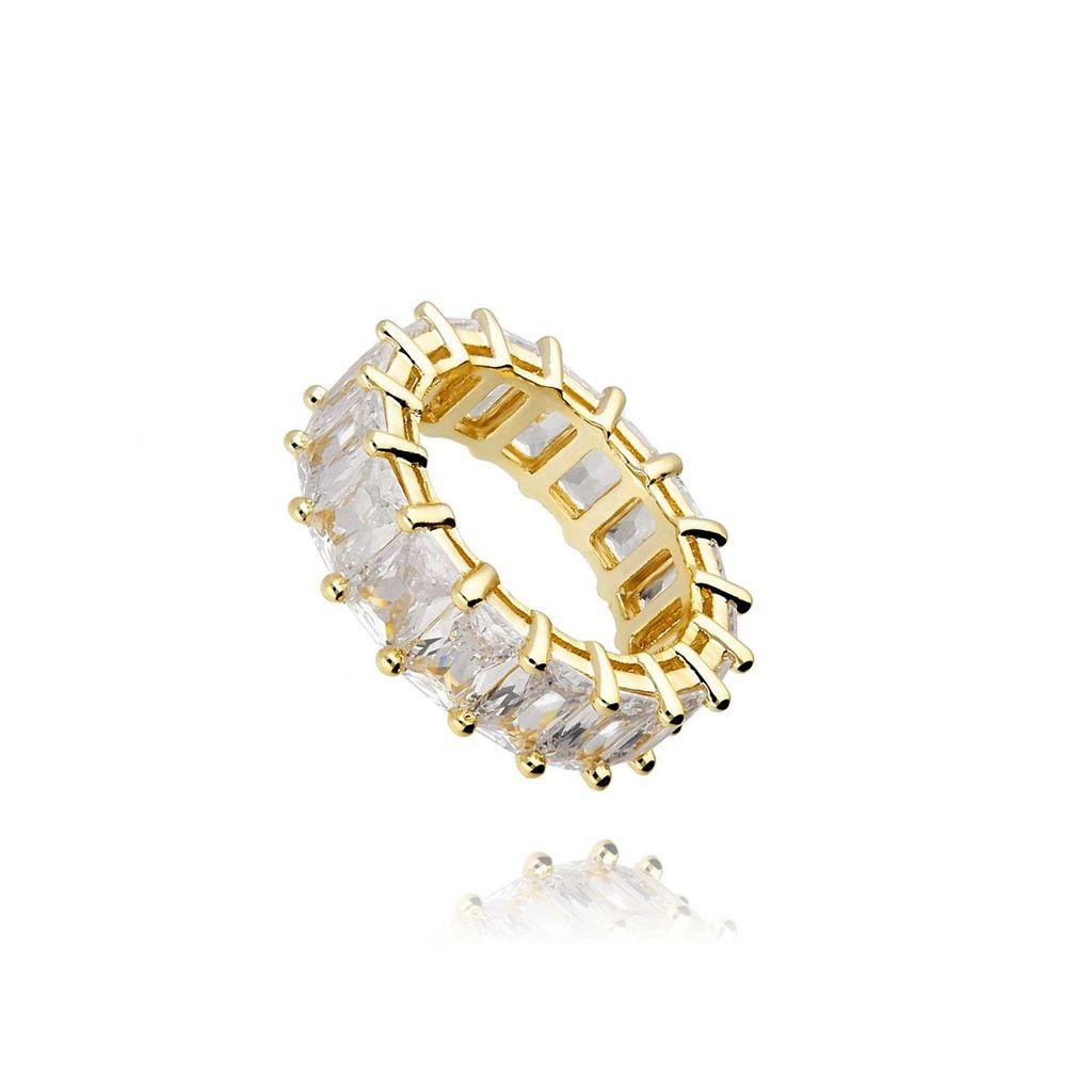 Pierścionek złoty z kryształkami PRG0145 rozmiar 21