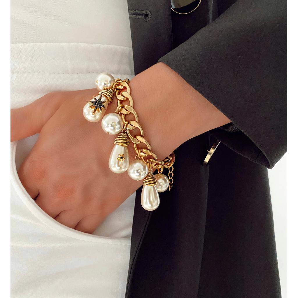 Bransoletka antyczne złoto z perłami BRG0201