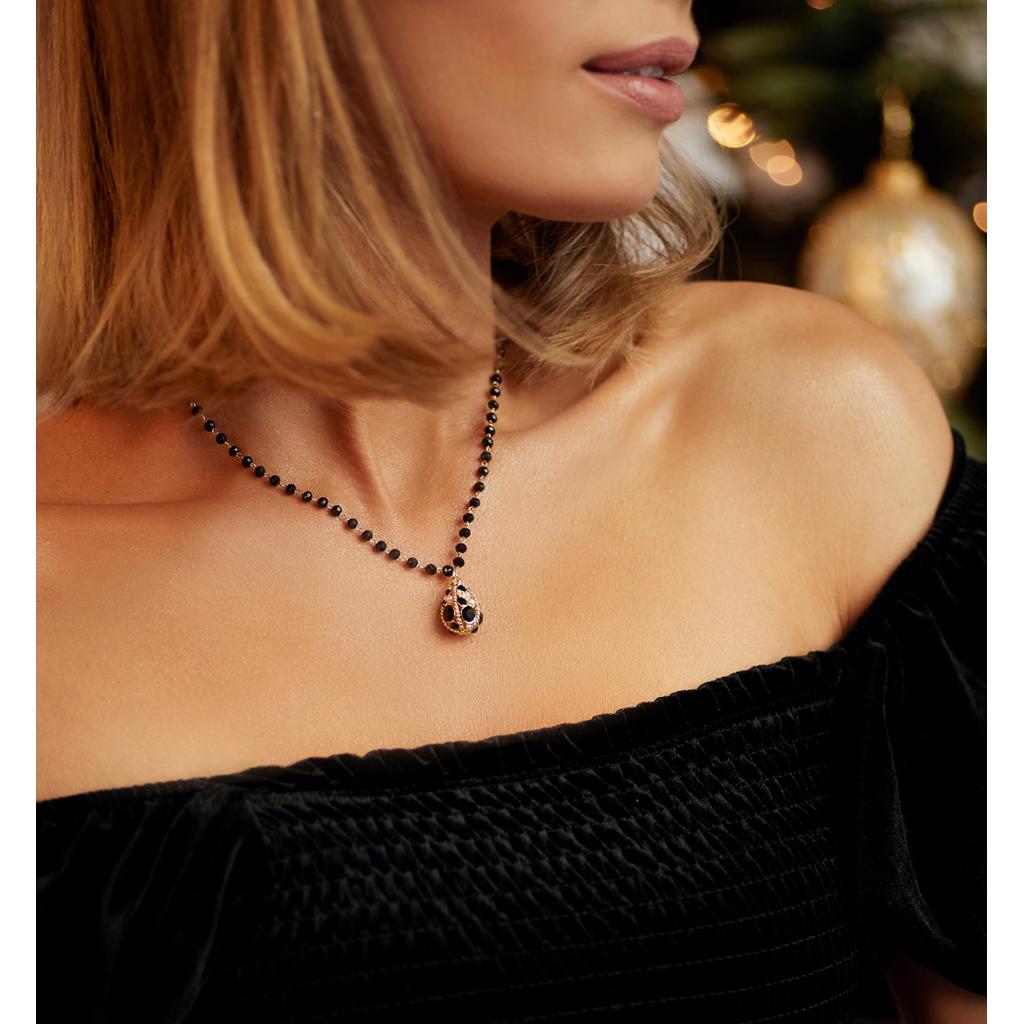 """Naszyjnik z """"jajkiem Faberge"""" i czarnymi kryształkami NRG0137"""