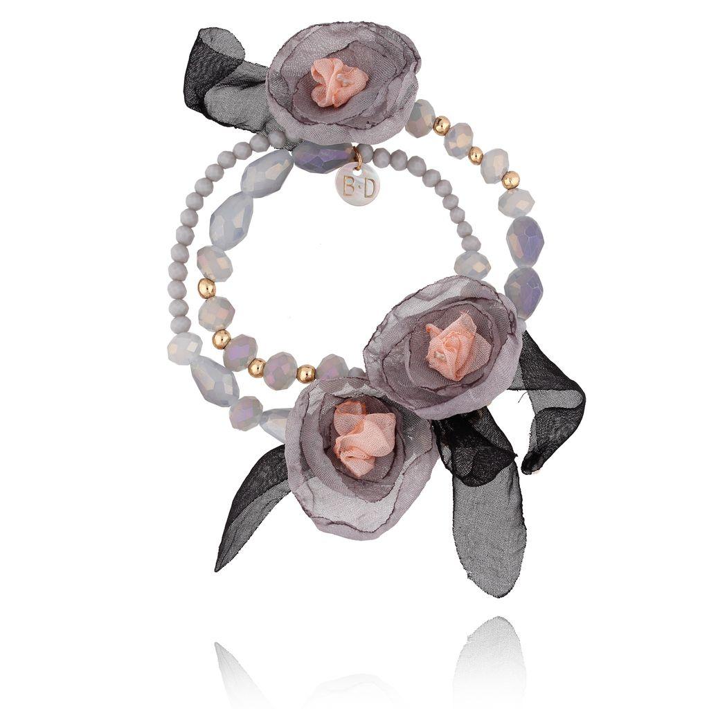 Bransoletka z kryształkami i  szarymi kwiatami  BBL0094