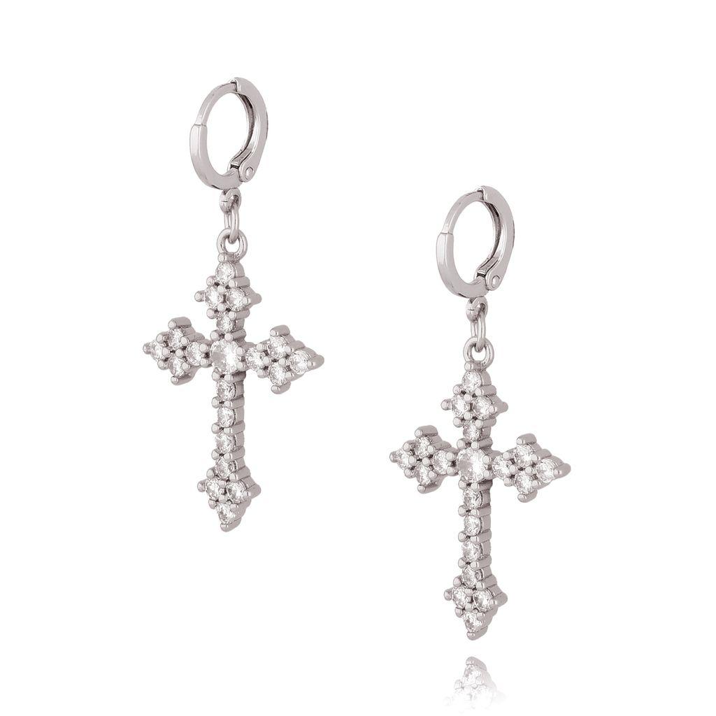 Kolczyki krzyżyki srebrne z transparentnymi cyrkoniami KRG0594