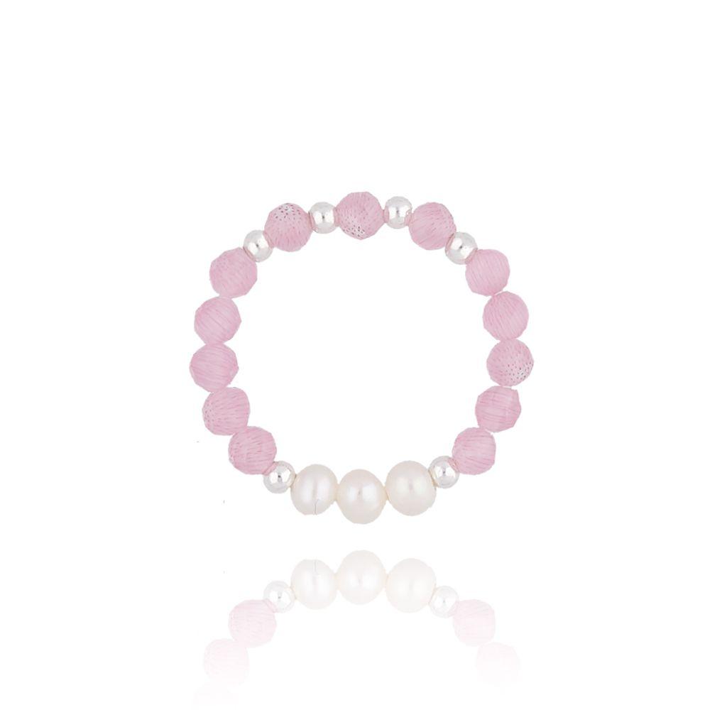 Pierścionek elastyczny z różowymi jadeitami i perłami PTW0067