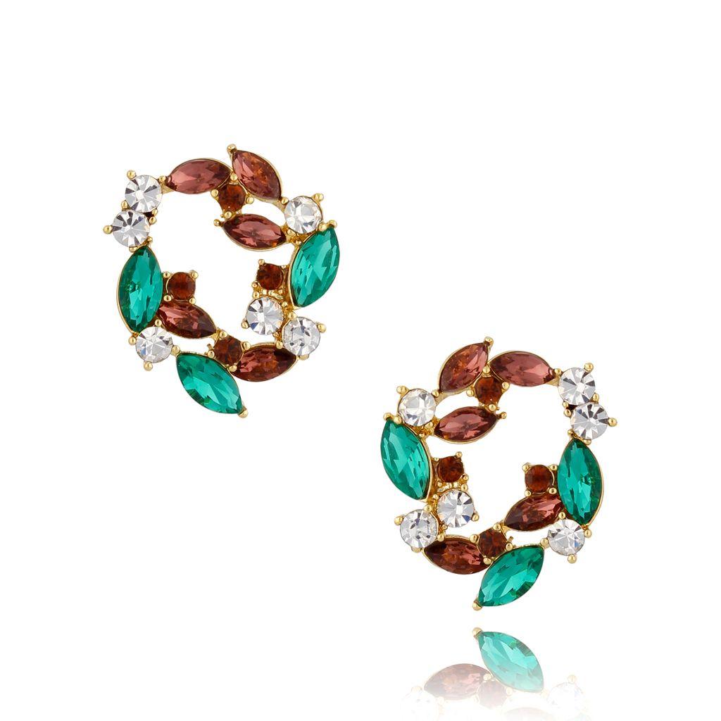 Kolczyki kryształowe zielono fioletowe KSS0894