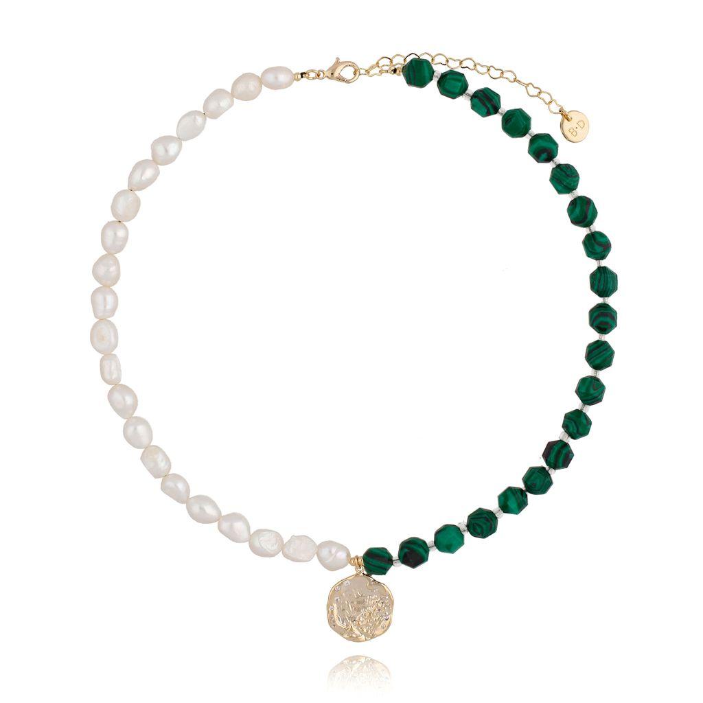 Naszyjnik zielony z perłami NPA0146