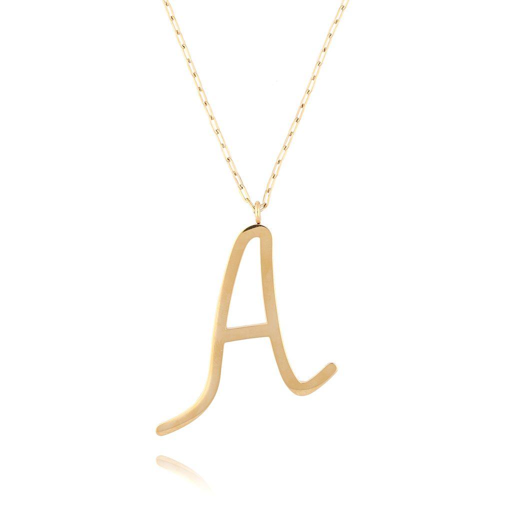 Naszyjnik ze stali szlachetnej złoty literka A Alphabet NAT0017