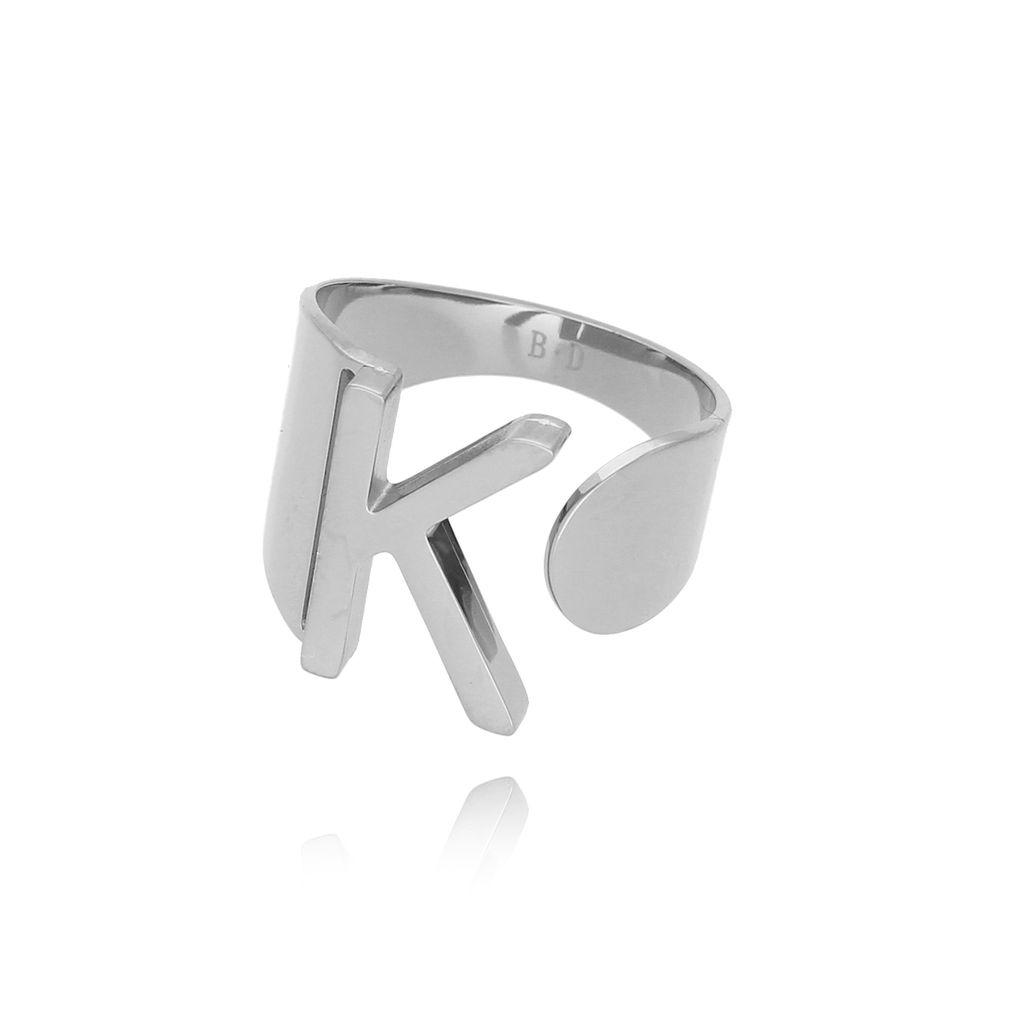Pierścionek srebrny ze stali szlachetnej z literką K PSA0042
