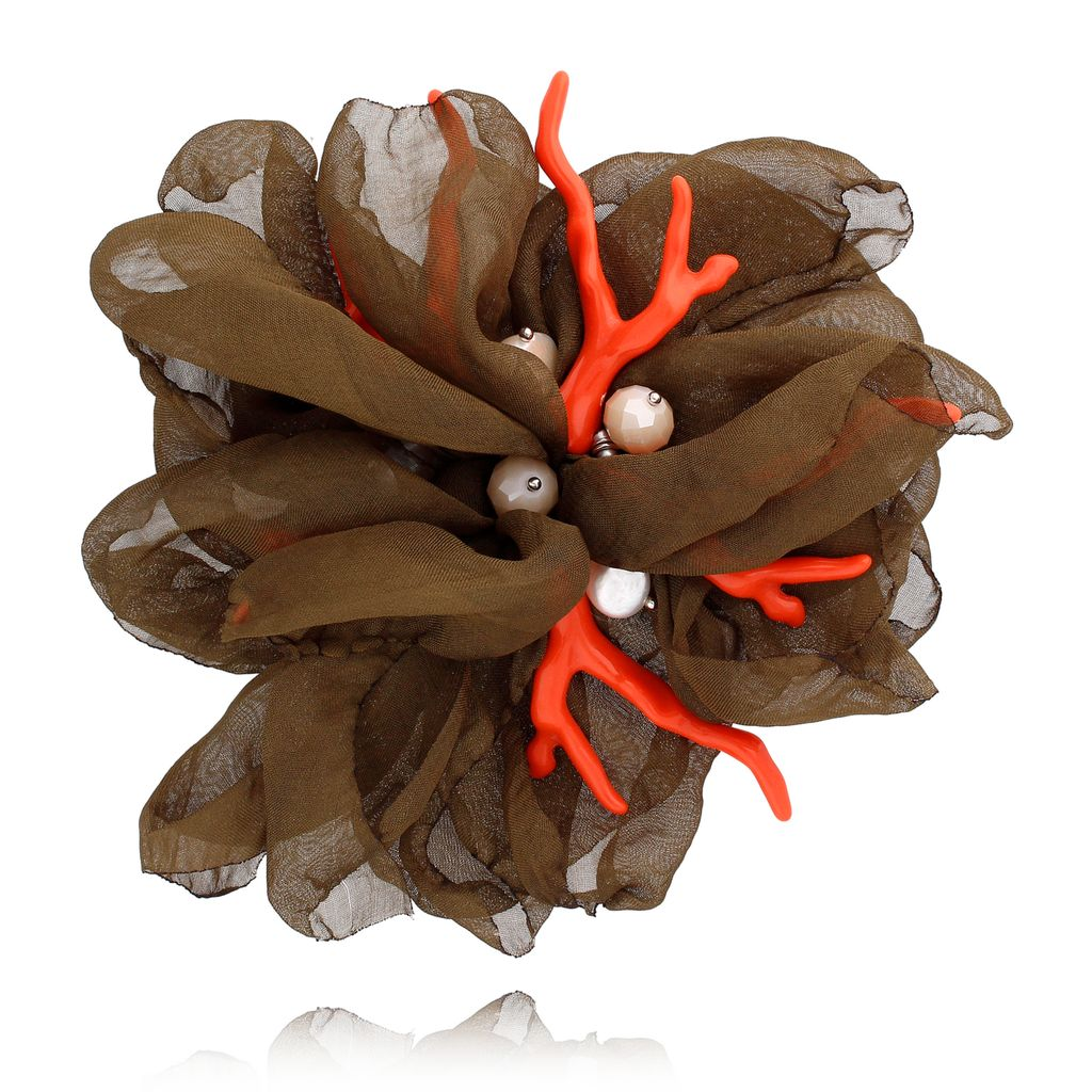 Broszka kwiat  z koralowcem zgniła zieleń BRBL0001