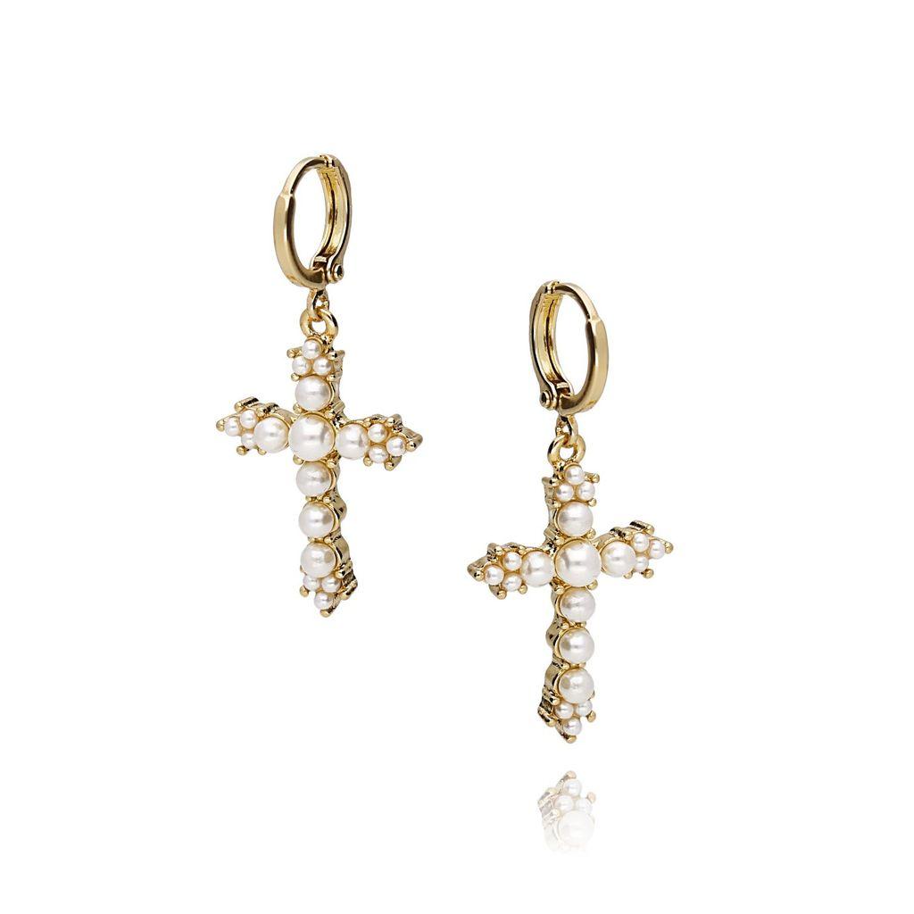 Kolczyki złote krzyże z perełkami KRG0495