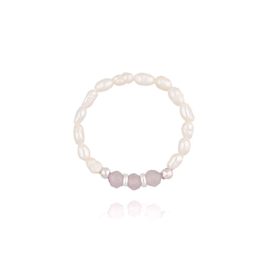 Pierścionek elastyczny z  ametystami i perłami  PTW0053