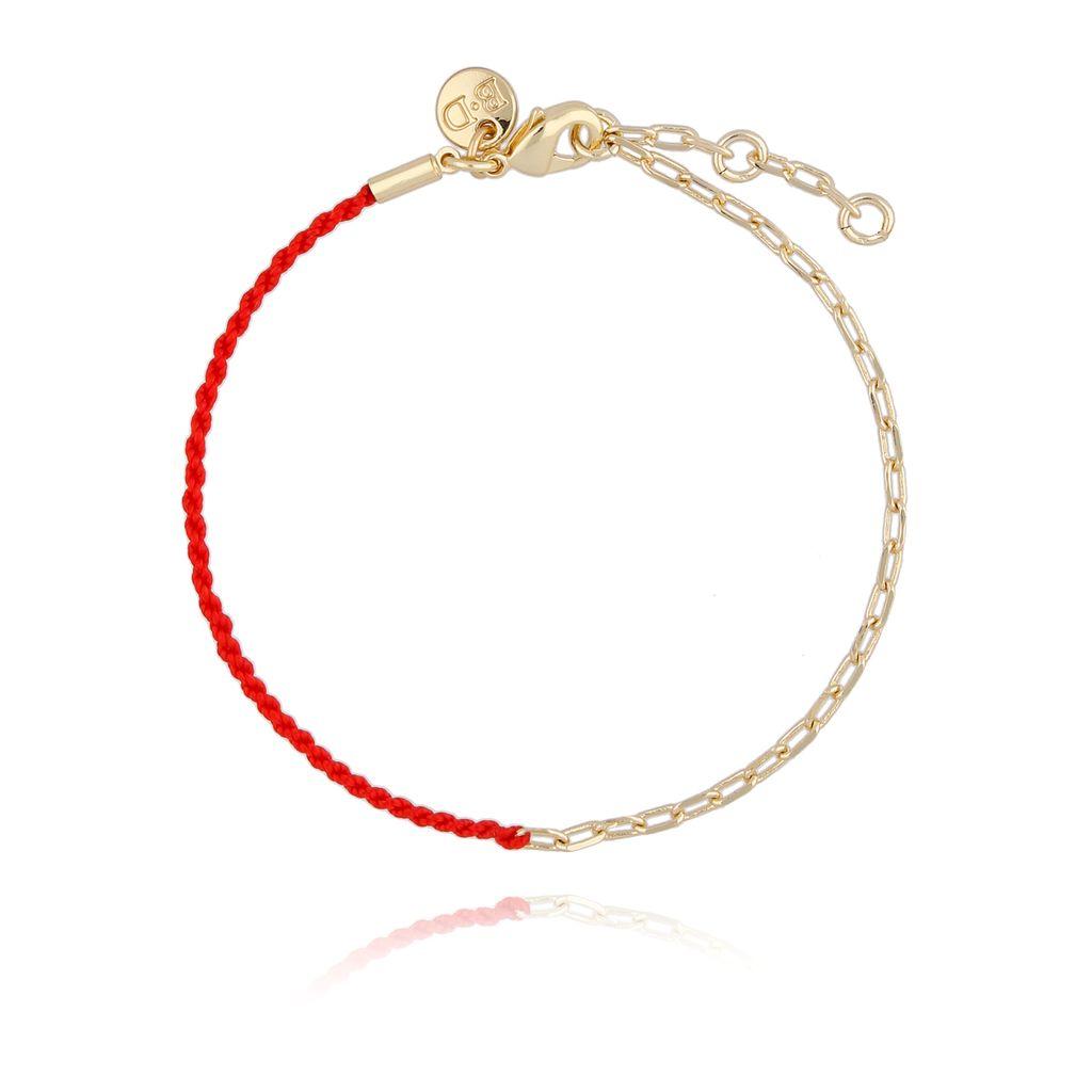 Bransoletka z czerwonym sznurkiem i złotym łańcuszkiem BLB0125