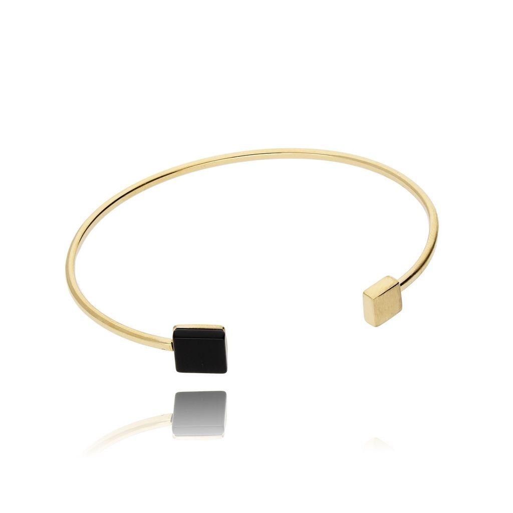 Bransoletka złota obręcz z onyksem BSE0059