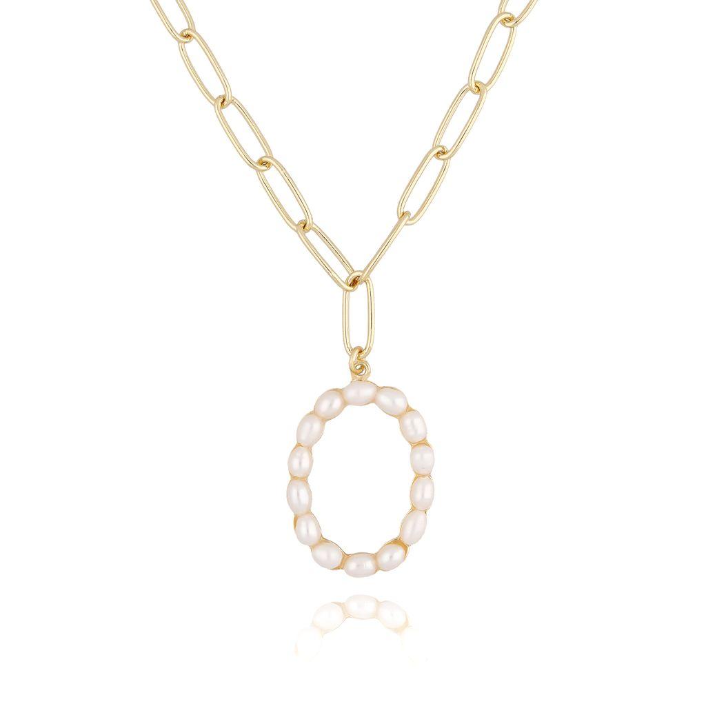 Naszyjnik złoty łańcuch  z literka z perłami 0 NRG0154