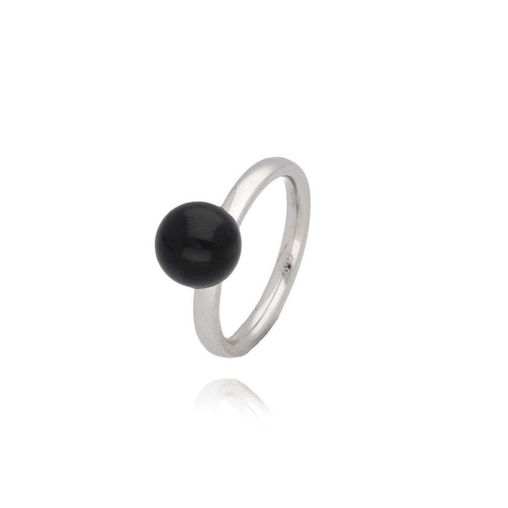 Pierścionek srebrny ze stali szlachetnej z czarną kulką PSA0064 Rozmiar 15