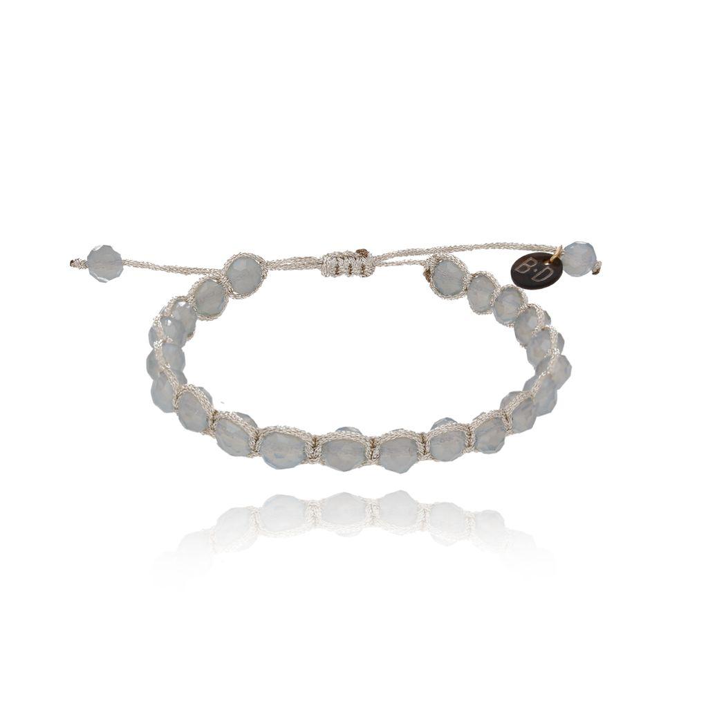 Bransoletka pleciona ze srebrnymi kryształkami BBL0057