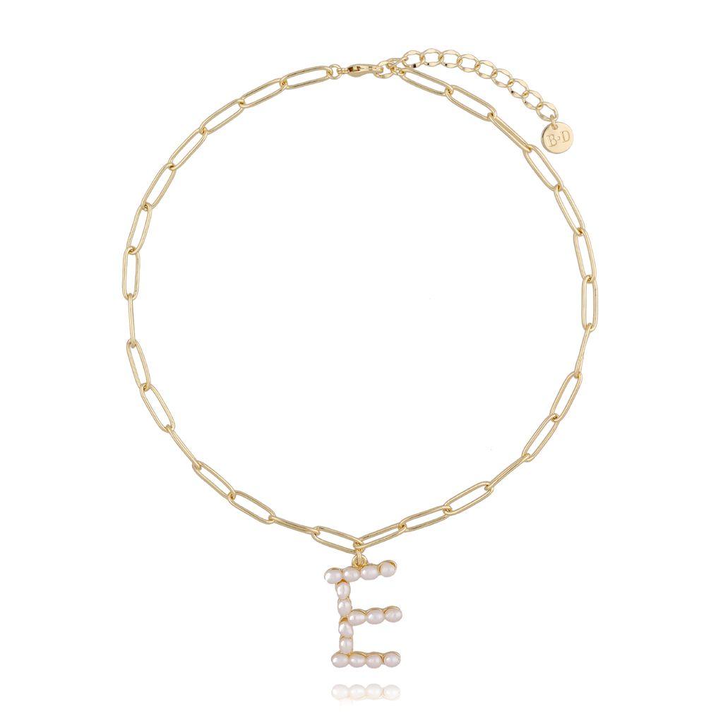 Naszyjnik z łańcuchem  z literą E NRG0201