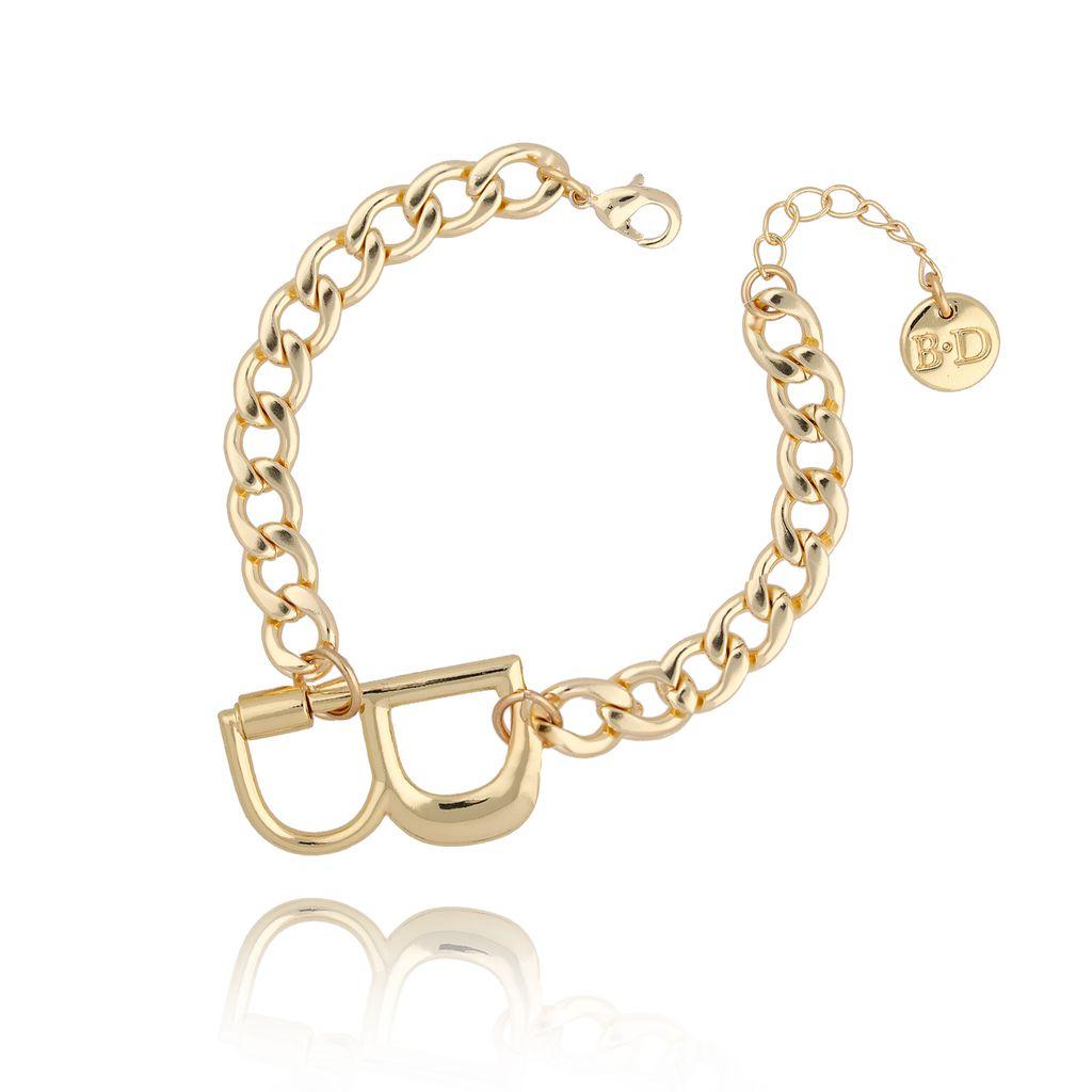 Bransoletka złoty łańcuch z literą B BSL0014