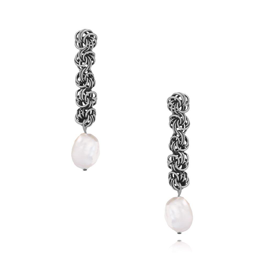 Kolczyki  z perełkami i łańcuszkiem antyczne srebro KPE0038