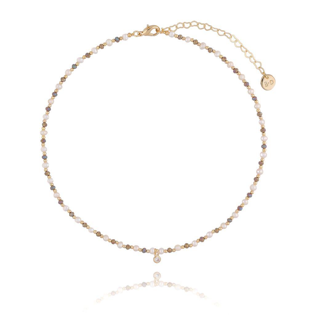Naszyjnik z perełkami i kryształkami NTW0077