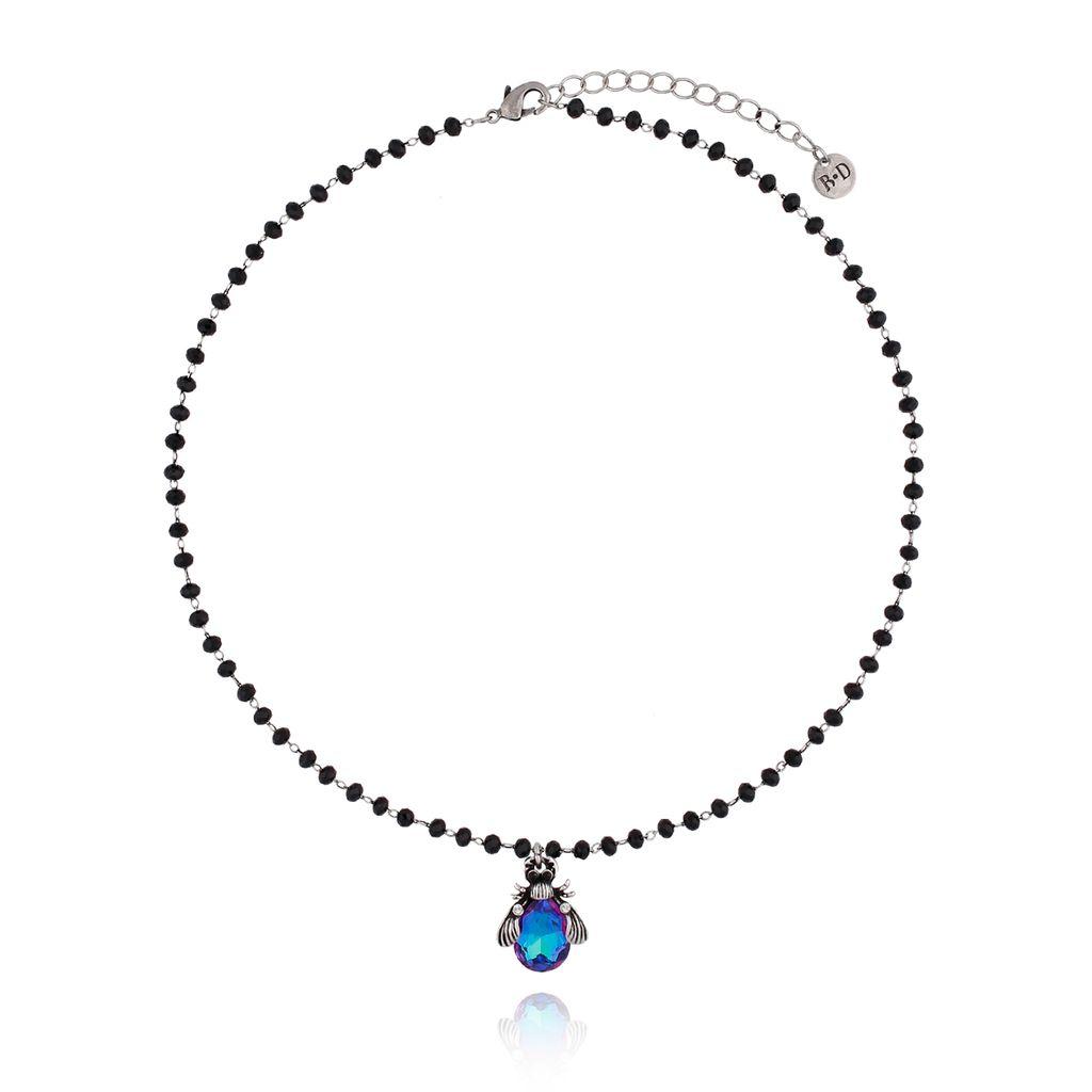 Naszyjnik niebieski żuk z kryształkami NMI0059