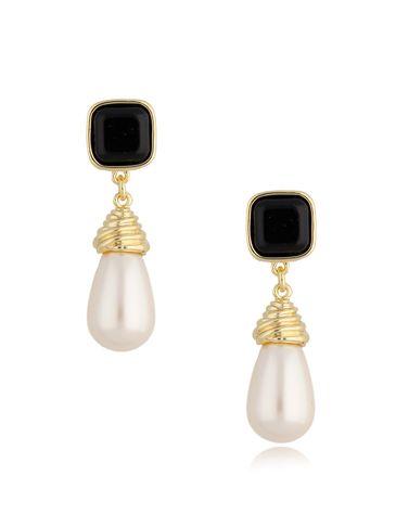 Kolczyki złote sople z perłami KPE0051