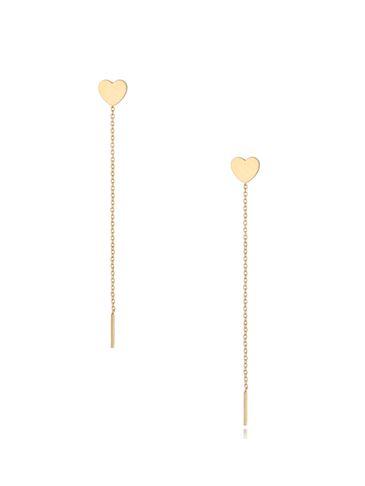 Kolczyki złote wiszące Long Heart KSA0301
