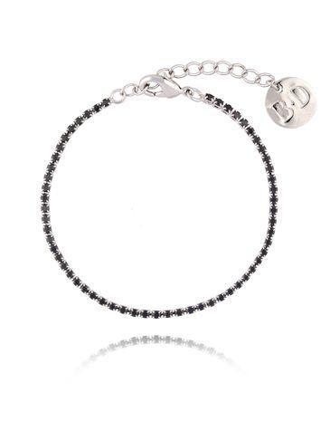 Bransoletka srebrna z czarnymi cyrkoniami BMU0009