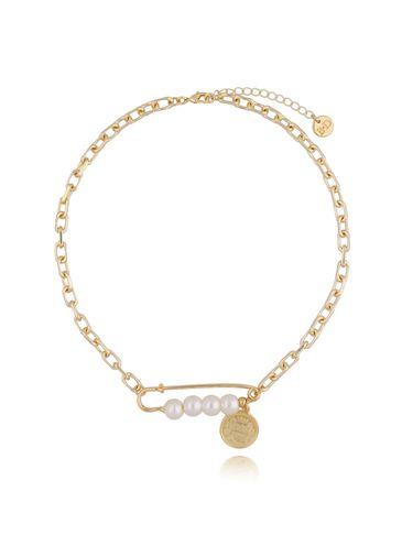 Naszyjnik złoty łańcuch z agrafką i perłami NSL0016