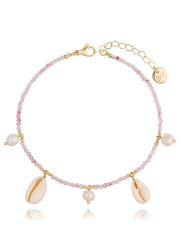 Bransoletka na kostkę z różowym kwarcem muszelkami i perłami Perfect Time BNPA0006