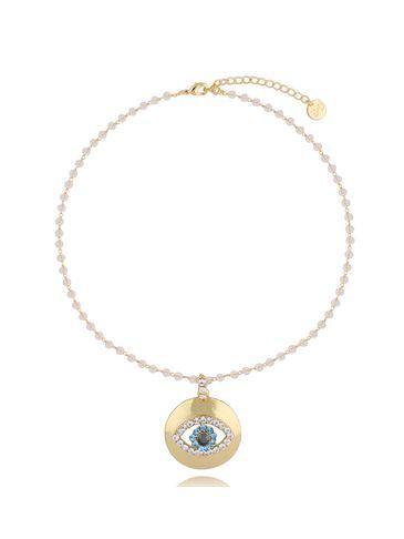 Naszyjnik złoty łańcuch z zawieszką oko NRG0295