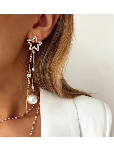 Kolczyki złote gwiazdki z perłami i kryształkami KRG0534