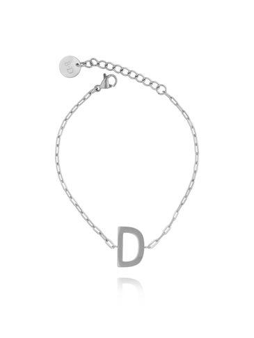 Bransoletka srebrna z literką D BAT0090