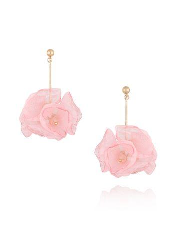 Kolczyki kwiaty jedwabne różowe KBL0361