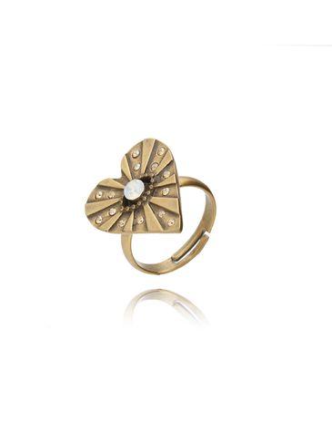 Pierścionek złote serce z cyrkoniami PTS0006