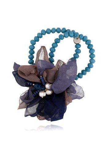 Bransoletka z kryształkami i  granatowo brązowym kwiatem  BBL0124