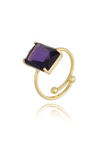 Pierścionek złoty z fioletowym kryształowym oczkiem PTO0012