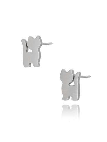 Kolczyki srebrne kotki ze stali szlachetnej KPS0003