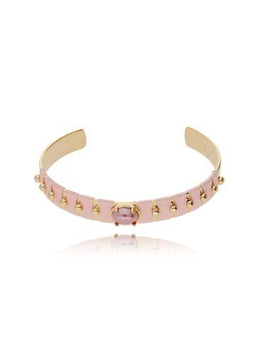 Bransoletka złota obręcz z koralikiem i różową nicią BNE0003