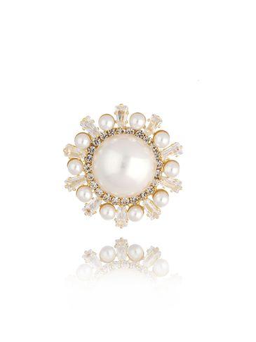 Broszka złota z perłami i kryształkami Pearl Ball BRPE0007